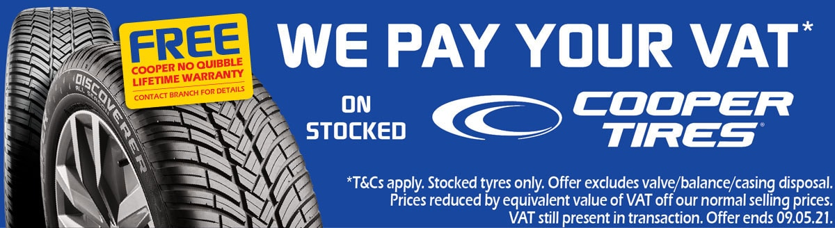 Limited Time Offer - We Pay Your VAT on Cooper tyres